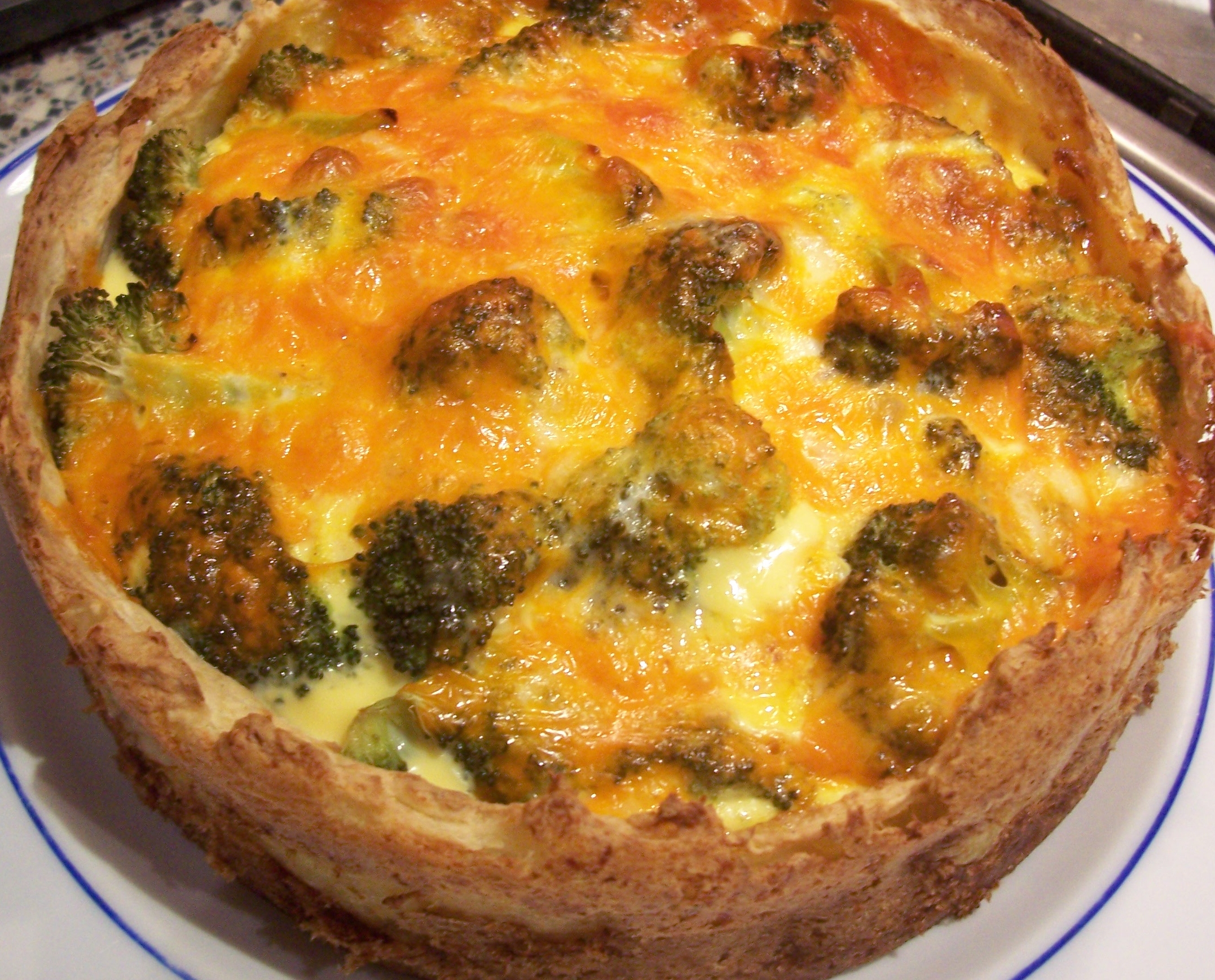 Broccoli and Cheese Quiche with Mashed Potato Crust