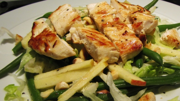 chicken, green bean and hazelnut salad