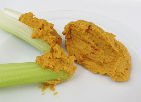 roast carrot dip on celery