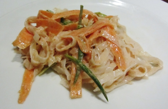 cucumber, carrot and noodle salad with peanut butter dressing