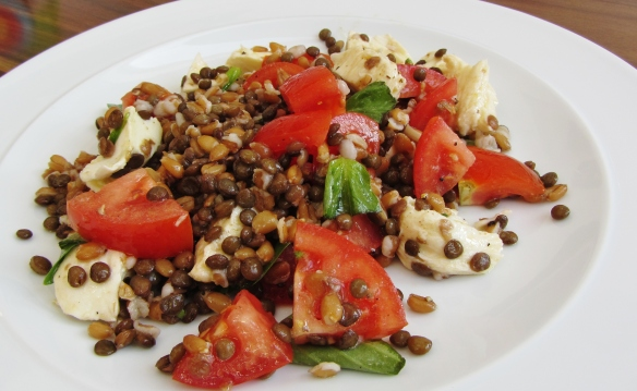 spelt and lentil tomato, basil and mozzarella salad