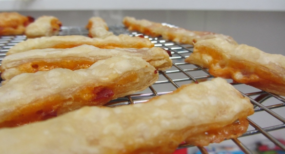 Chorizo cheese puff pastry straws