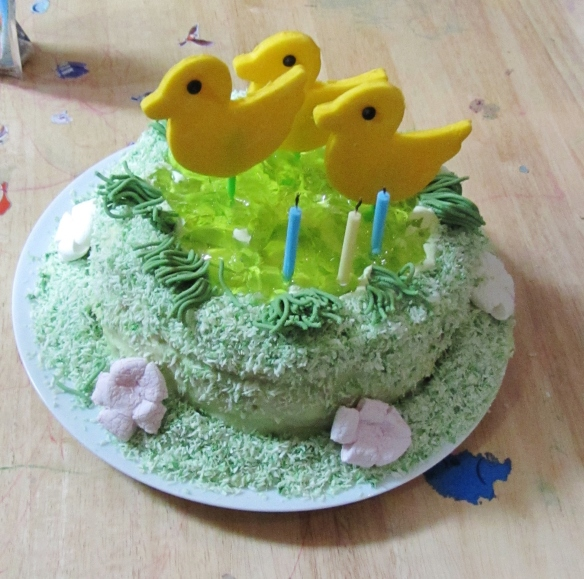 Duck pond kids birthday cake