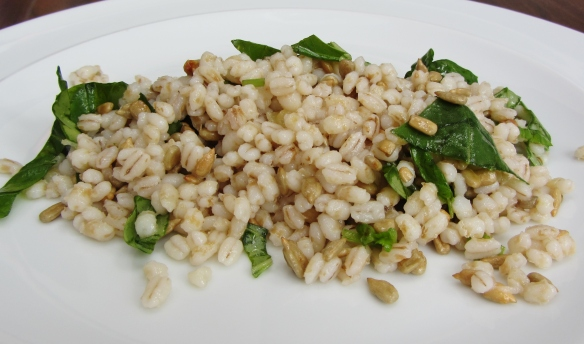 Lemon, pearl barley, sunflower seeds and basil salad